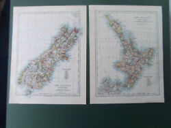 New Zealand 2 Antique Maps North And South Islands Johnsons 1880 Atlas 24x31cm