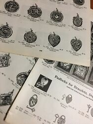 X16 Antique Lockets Charms 1905 Designs Hearts Crosses Gold Silver Catalog Oages