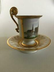 Royal Copenhagen Empire Lion Cup With Motif Of Frederiksborg Castle From