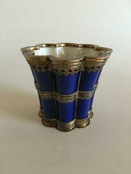 Royal Copenhagen Large Margrethe Cup With Sterling Silver Mounting By Anton