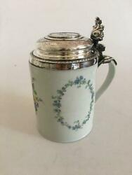 Royal Copenhagen Mug From 1790-1810 With Silver Lid Ornamented With A Religious