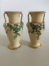 Pair Of Bing And Grondahl Early Vases In God And Overglaze