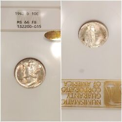 1942-d Ngc Ms66fb Gold Cac Mercury Dime Toned Old 3.0 Fatty Gold Embossed Luster