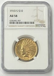 1910-s 10 Indian Head Pre-33 Gold Eagle Ngc Au58 New Ngc Holder - Beautiful