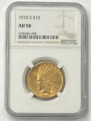 1910-s 10 Indian Head Pre-33 Gold Eagle Ngc Au58 New Ngc Holder - Good Value