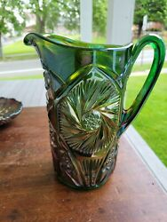 Wow Green Cambridge Carnival Glass Double Star Pitcher Epoxy Repair On Base