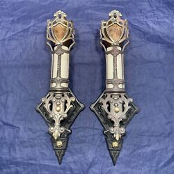 Rare Pair Of Quality Arts And Crafts Art Deco Wall Candles Fixtures Wow 95d