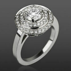 4 Prong Diamond Double Halo Ring Women Si2 Bridal 2 1/4 Ct 14 Kt White Gold