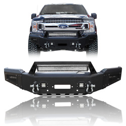 New Steel Front Bumper W/winch Plate+led Lights+d-rings For 2018-2020 Ford F150