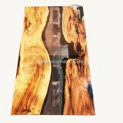 Epoxy Resin Table, Blue River Table Top Epoxy Burl Acacia Wood, Resin Table Deco