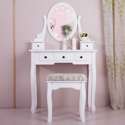 White Wood Makeup Dressing Table Stool Set Antique Collection Vanity Table