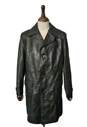 Vintage 1960's German Horsehide Leather Trench Coat Medium Chest 40r