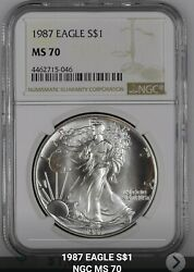 1987 Silver American Eagle Ngc Ms70. Listed At Ngc Price No Price Inflation.