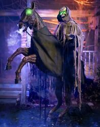 Animatronic Halloween Prop Scary Reaper On Horse Moving Talking Haunted House