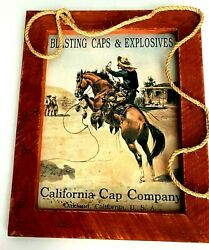 Western Tin Sign Wall Art Home Decor Blasting Caps And Explosives Calif. Cap Co.