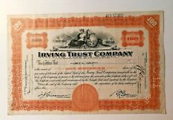 1933 Boston Mayor James M. Curley Signed Irving Trust Stock Certificate