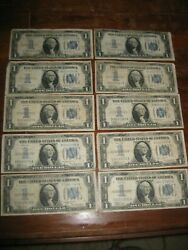 Lot Of 10 1 1934 Funny Back Silver Certificates - Circulated