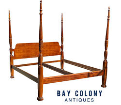20th C Chippendale Antique Style King Size Cherry Rice Carved Plantation Bed
