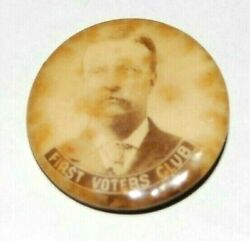 '04 Teddy Roosevelt First Voters Club Theodore Campaign Pinback Button Political