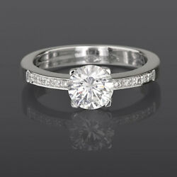 1.06 Carat Round Diamond Solitaire And Accents Ring 18 Kt White Gold 4 Prong Vvs1