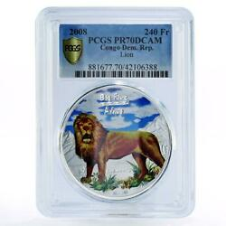 Congo 240 Francs African Wildlife Series Lion Pr70 Pcgs Silver Coin 2008