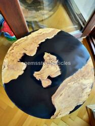 Round Acacia Wooden Epoxy River Dining Table Top Acacia Wood Coffee Top Decors
