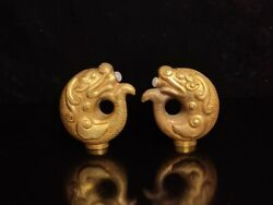 A Pair Chinese Gold-plated Inlay Jade Handcarved Fish Teapots 17365