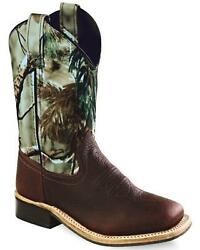Old West Youth Boysand039 Oiled Rust Camo Cowboy Boot - Square Toe - Bsy1816gy
