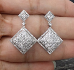 Deal 2.00ct Natural Round Diamond Cluster Dangle Drop Earrings In 14k Gold 30mm