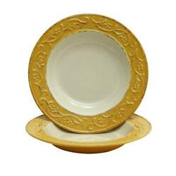 Toscana Pasta/soup Rimmed Plate With Bass Relief Tuscan Scroll - Set Of 8 [r]