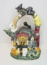 Omnibus Fitz And Floyd '93 Halloween Haunted House Teapot Witch Broom Handle Cat
