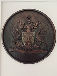 Hand Carved Wood Wall Hanging Plaque The Coat Of Arms Of Trinidad And Tobago