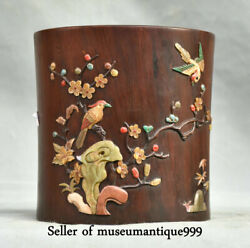 18cm Old Chinese Wood Inlay Shell Dynasty Flower Bird Brush Pot Pencil Vase