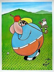 Xavier Cugat 1900-1990-fat Golfer-le Lithograph/paper/signed/numbered/loa