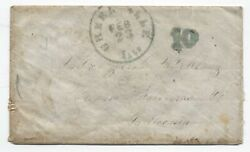 1850s Greenville Il Stampless 10 Rate To California [5806.493]