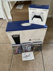 Sony Ps5 Disc Edition Console - White - Bundle Comes With Extra Controller