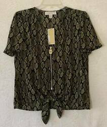 Womenand039s Blouse Snake Print Tie-front Zip Size Small New With Tags