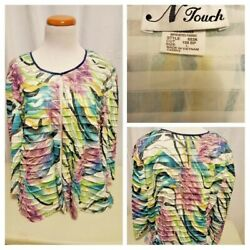 N Touch Women's Stretch Design Cardigan Jacket Size Large Multi 3/4 Sleeves