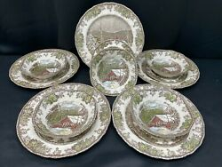 """Johnson Brothers The Friendly Village"""" England 15 Piece Lot Plates, Bowls"""