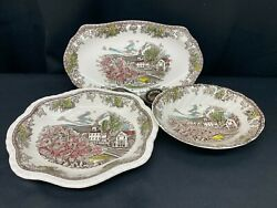 """Johnson Brothers The Friendly Village"""" England 3 Piece Lot Serving Bowls ++"""