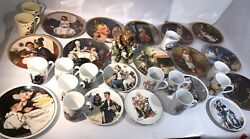 Norman Rockwell 30pc Lot Plates, Mugs Figurine Vintage Collector's Lot
