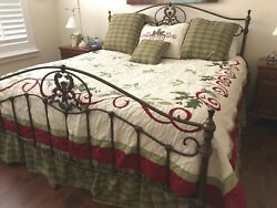 Candf Enterprises Christmas Holly Berries King Quilt Bedskirt And Pillow And Shams
