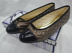 French Sole - Ladies Shoe Black Patent Toe And Gold Leather Flat Pump Eu40 /uk7