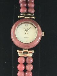 Main Line Time Gemstone Beads Watchsilvertonestretchmother Pearl Of Dial