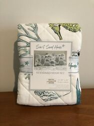 New Set Of 2 Sea And Sand Home Fish Seahorse Quilted Standard Pillow Shams 20 X 26