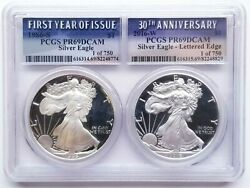 1986-s 2016-w Silver Eagle Pair Lettered Edge Pcgs Pf69 Dcam 30th Anniversary