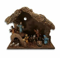 Vintage Nativity Manger Scene 13.75x11.5 Made In Italy 11 Pieces