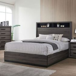 Modern Look Grey Color Bedroom Queen Size Bed Bookcase Headboard 1pc Furniture