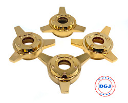 Zenith Gold 3 Bar Locking Style Cut Knock-off Spinner For Lowrider Wire Wheels