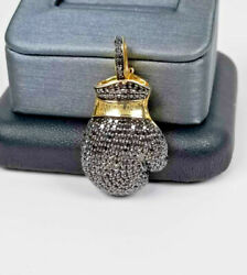 Men 925 Sterling Silver Silver/gold 1.10ct Diamond Boxing Gloves Charm Pendant